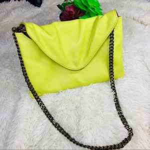 Chartreuse leather J.Crew handbag with chain strap